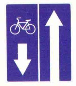 Дорожный знак дорога с полосой для велосипедистов картинка